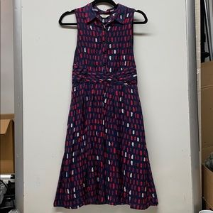 Anthropologie 11.1.TYLHO navy blue red dot dress